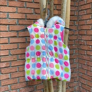 Crazy 8 White Polka Dot Puffer Vest with Hood